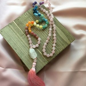 Jewelry - Rainbow natural stone hand knotted w/pink tassel